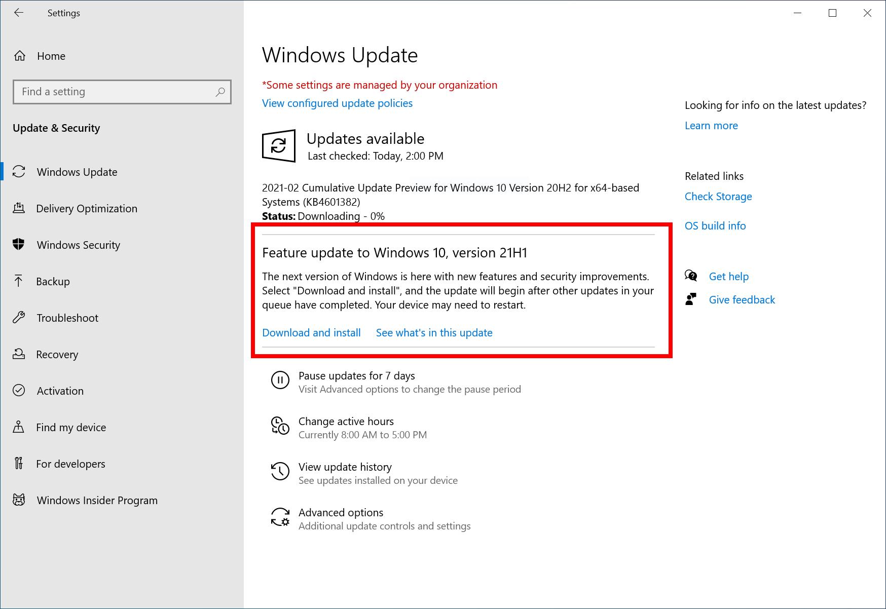 windows 10 version 21h1 feature update