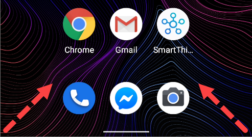 Swipe in from the bottom-left or -right corner.