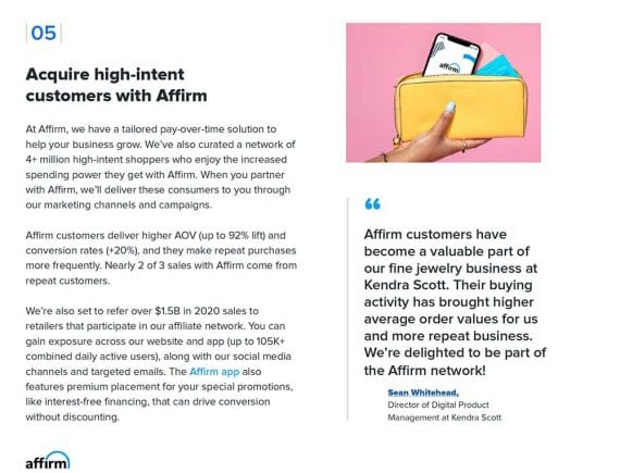 Screencapture of the final tactic in Affirm's ebook.