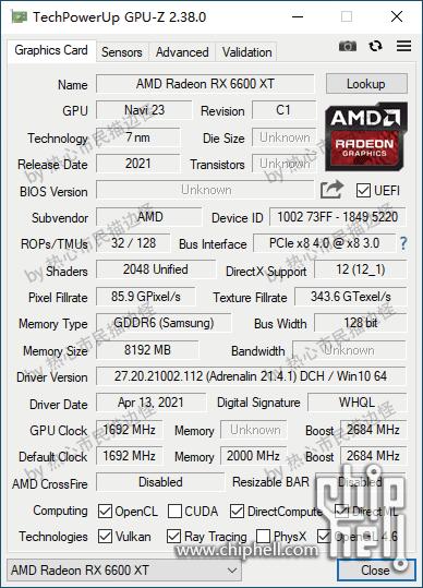 AMD Radeon RX 6600 XT GPU-Z Specs Leaked
