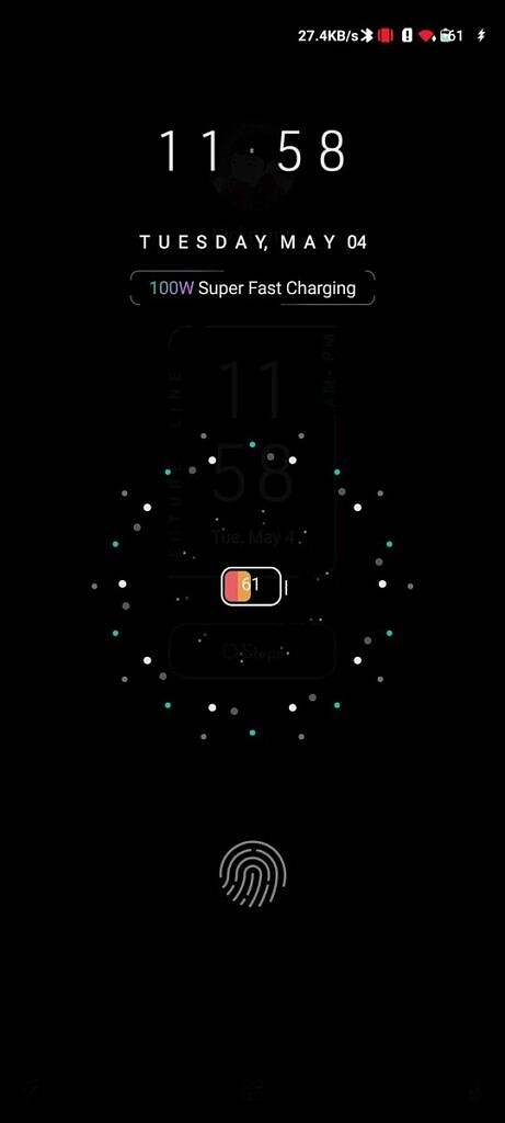Custom charging screen with small battery icon in the center and black background
