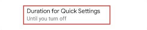 quick settings options