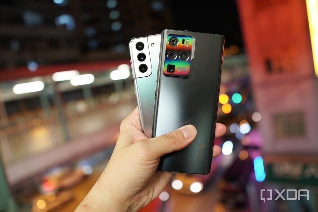 The silver Samsung Galaxy S21 Plus and the dark grey ZTE Axon 30 Ultra.