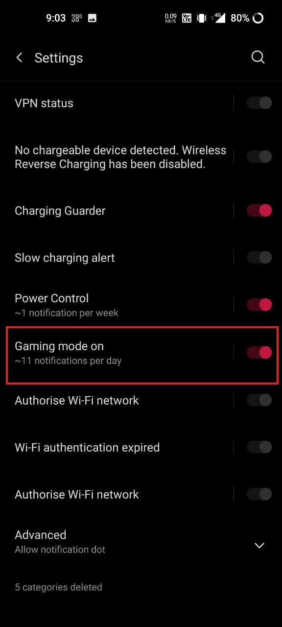 Disable Gaming Mode Notifications on OnePlus