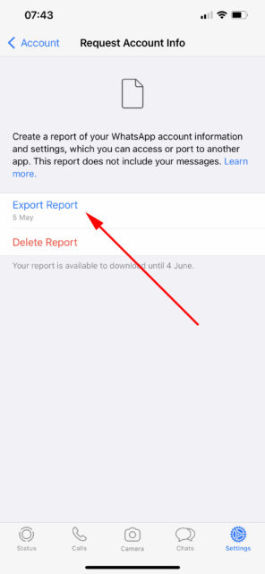 Export WhatsApp account info