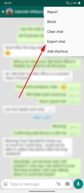 Export WhatsApp chat Android