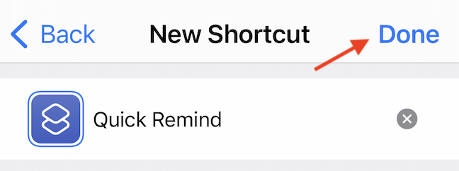 """Give the shortcut a short name, and tap the """"Done"""" button."""
