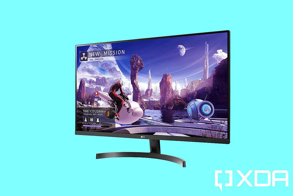 LG 27QN600-B 27-inch monitor blue background