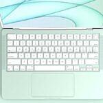 MacBook render color green keyboard open
