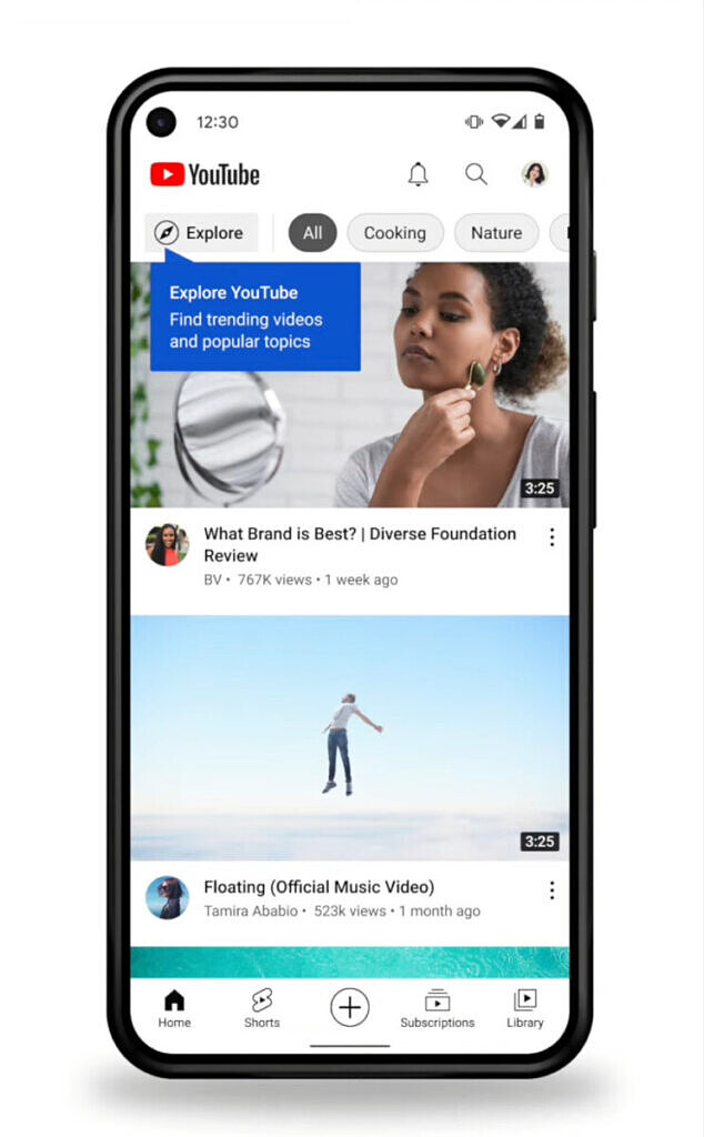 New Explore tab position in the YouTube app for mobile