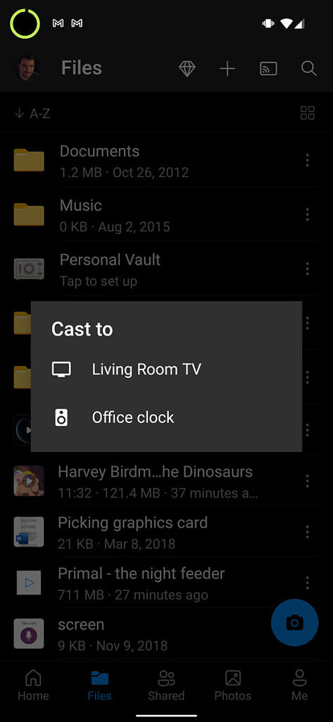 OneDrive screenshot showing casting pop up with two supported devices