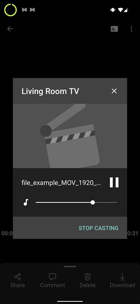 OneDrive screenshot showing casting controls pop up