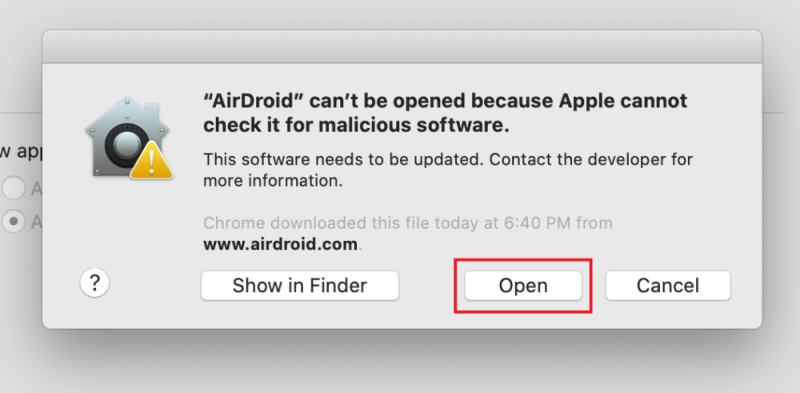 Unblock and run AirDroid on Mac OS