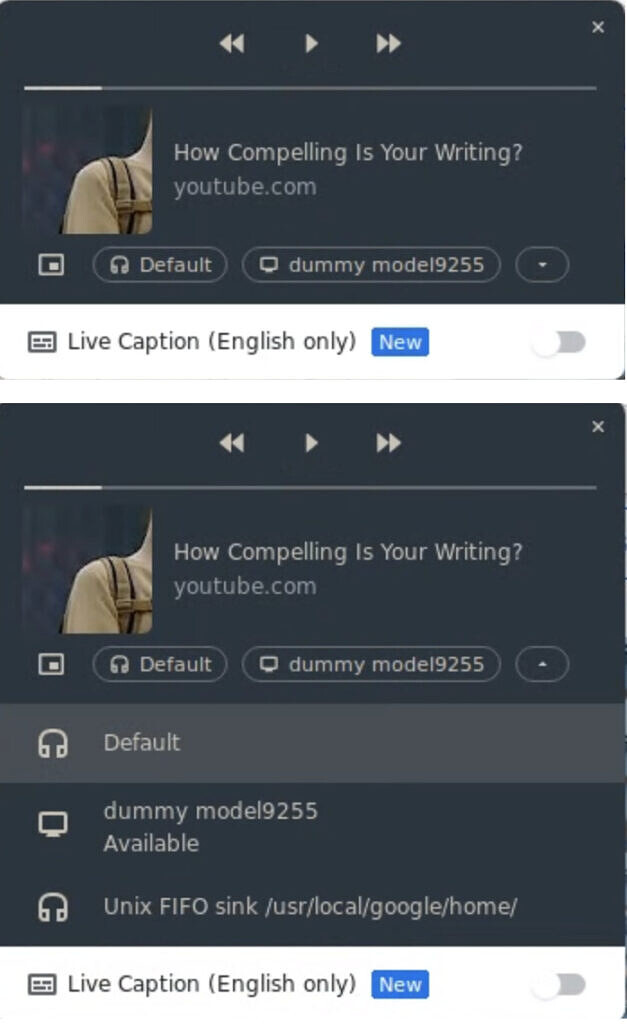 Google Chrome media player's new output picker button