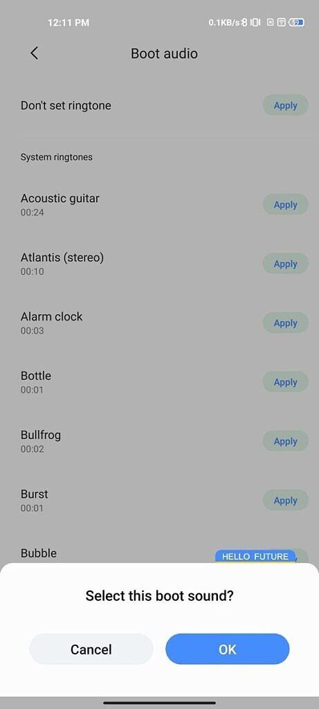 Apply custom boot audio