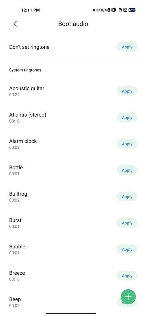 Select custom boot audio in MIUI Themes app