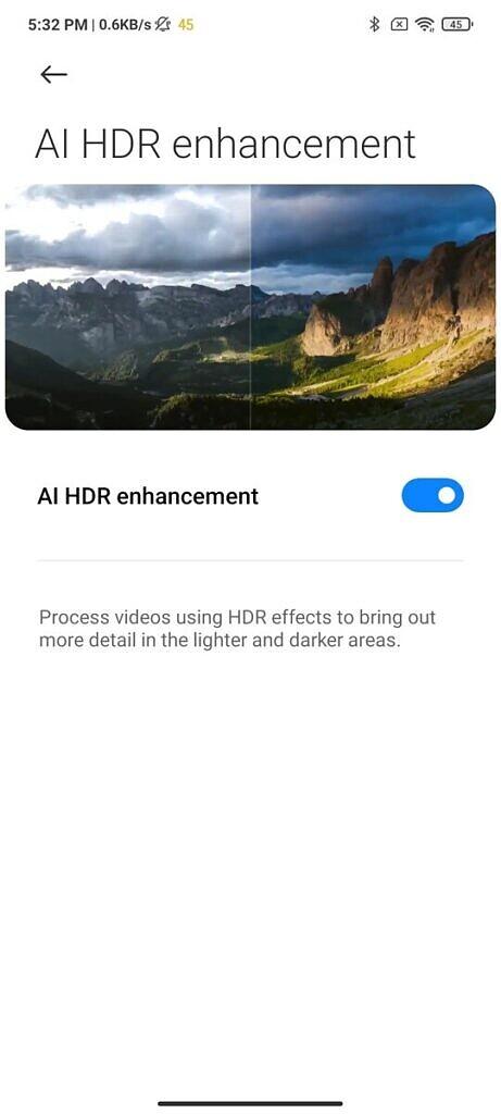 Xiaomi Mi 11X Pro AI HDR enhancement