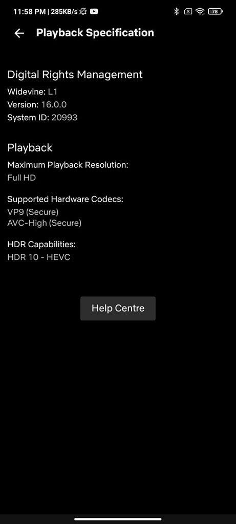 Xiaomi Mi 11X Pro Netflix playback settings