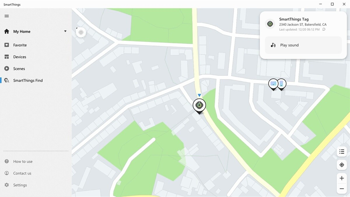 Screenshot showing a map with a Galaxy SmartTag selected