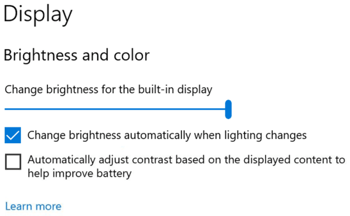 disable auto brightness and contrast via settings in Windows 10