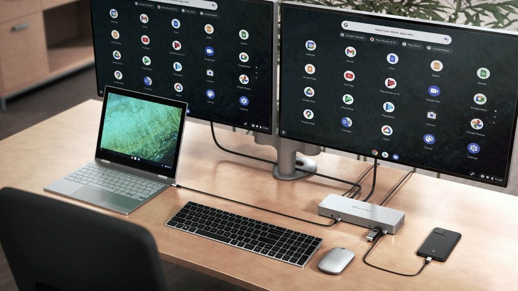 The HyperDrive 14 docking station with a Google Pixelbook paired up to two monitors