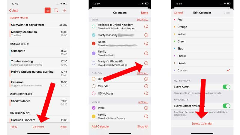 How to remove calendar spam on iPhone: Deleting calendars
