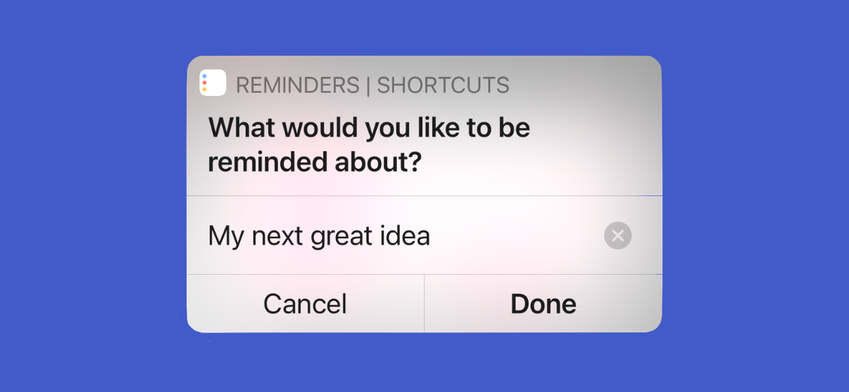 iPhone User Creating a New Reminder Using Shortcuts App