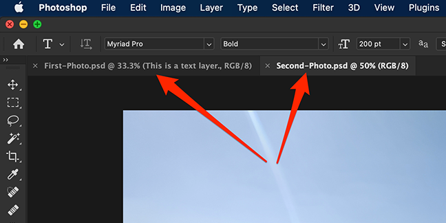 Multiple document tabs in the Photoshop interface.