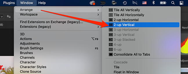 Click 2-up Vertical option on the Photoshop window