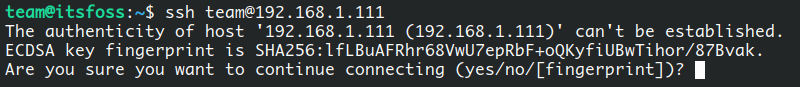 Connecting for the first time with SSH