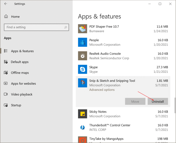uninstall or reinstall snipping tool and snip and sketch Windows 10 pic1