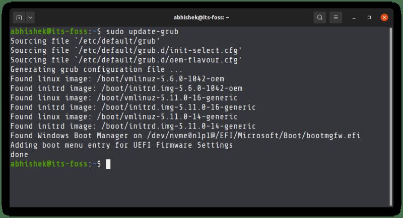 updating grub ubuntu