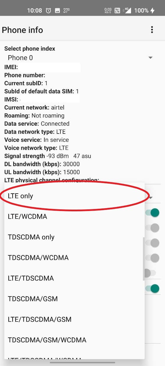 Lock to LTE Only- Mobile Data Not Working