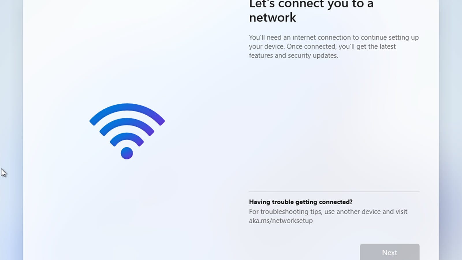 """A """"let's connect you to the network"""" screen, with no options to move forward."""