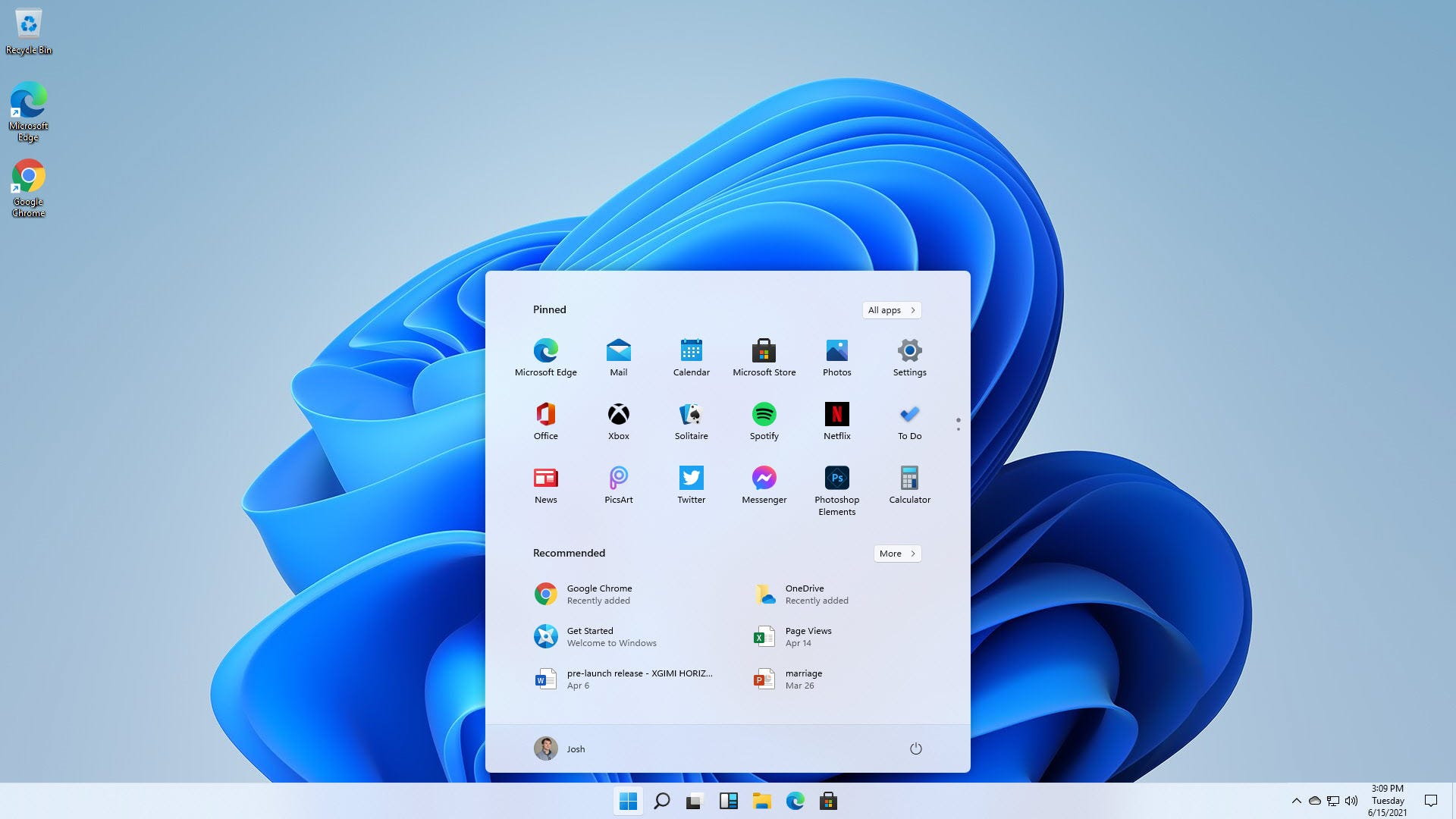 A big start menu in the middle of the screen