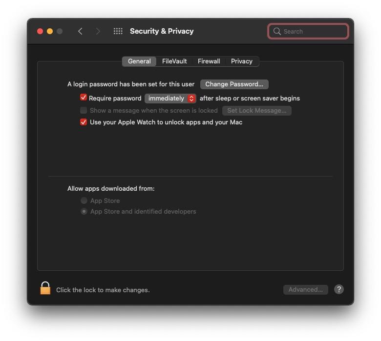 Apple Watch Unlock option in Settings