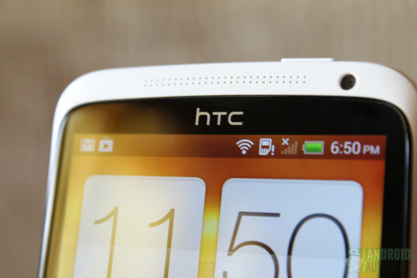 Screen of an HTC phone showing the HTC logo