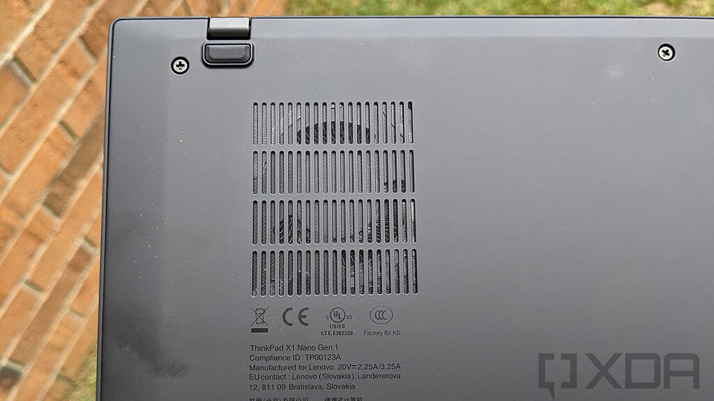 Close up of Lenovo ThinkPad X1 Nano fan