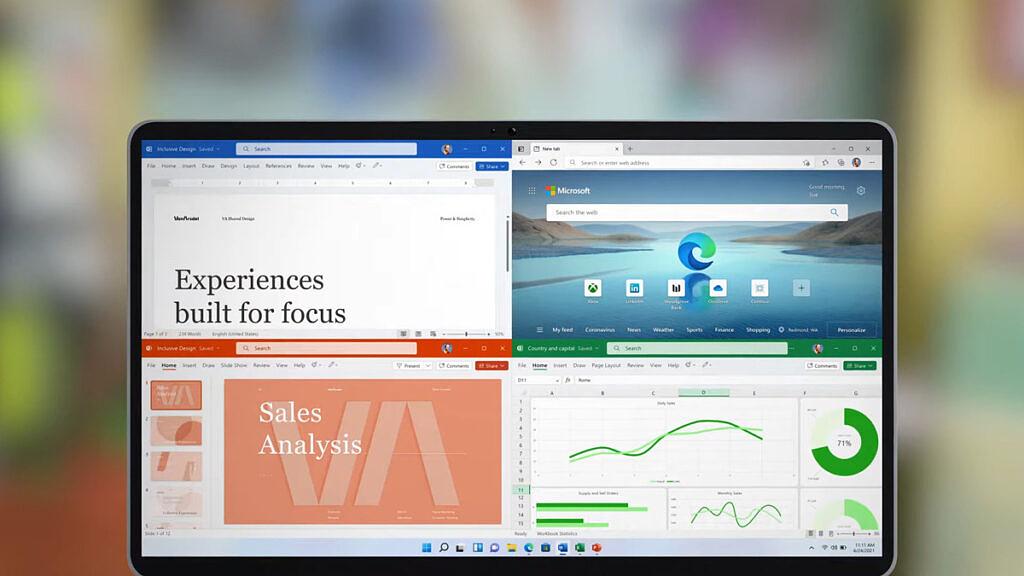 Microsoft Office running on a laptop