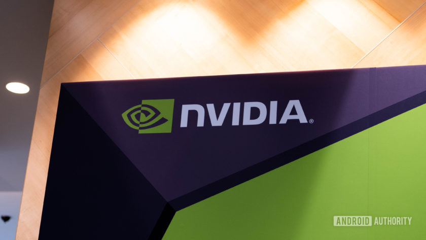 NVIDIA Logo in white, green and black, projected on a wall.