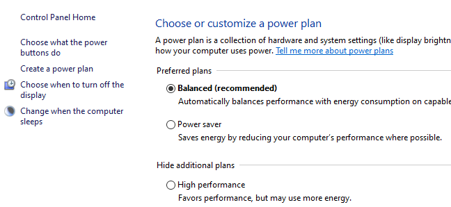 Three radio buttons displaying power plan options in the Windows 10 Control Panel