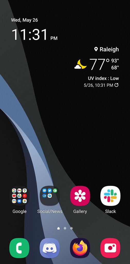 Home screen in One UI 3.1