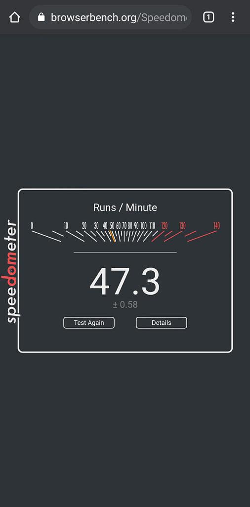 Speedometer result of Samsung Galaxy A52 5G