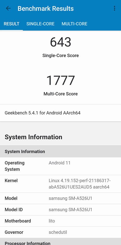 GeekBench 5 result of Samsung Galaxy A52 5G