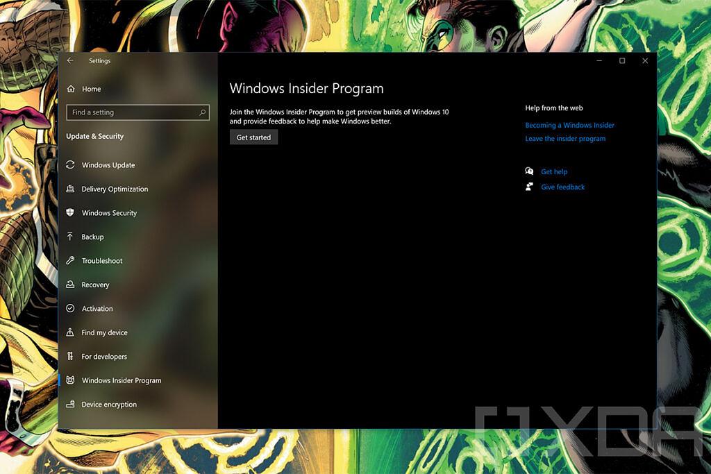 Windows Insider settings page in Windows 10