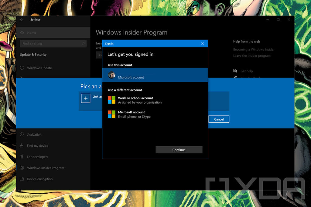 Account sign-in in Windows Insider settings