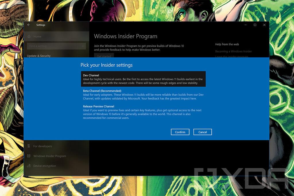 Windows Insider channel settings in Windows 10