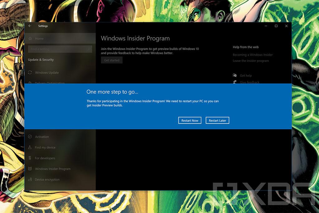 Restart prompt for Windows Insider Program settings