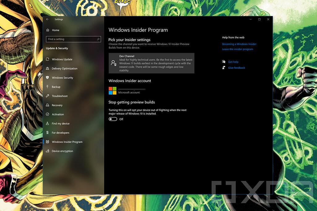 Windows Insider Program settings page in Windows 10