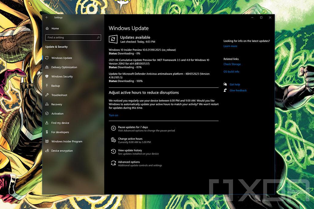 Windows Update showing updates being downloaded